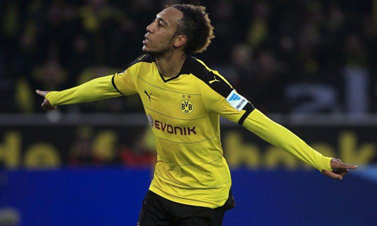 Pierre-Emerick Aubameyang celebrates scoring for Borussia Dortmund