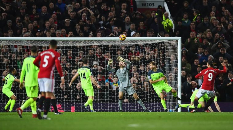 Zlatan Ibrahimovic scores the equaliser against Liverpool for Manchester United