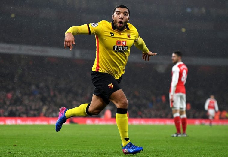 Troy Deeney celebrates after scoring for Watford against Arsenal