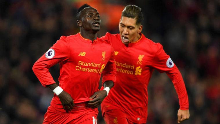 Sadio Mane celebrates for Liverpool after scoring against Tottenham Hotspur in the Premier League