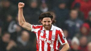 Joe Allen celebrates scoring from Stoke City in the Premier League