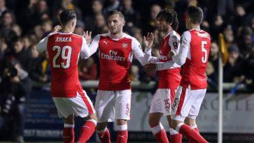 Lucas Perez of Arsenal celebrates scoring against Sutton United