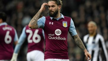 Aston Villa midfielder Henri Lansbury looks dejected in a disappointing defeat for Aston Villa against Newcastle