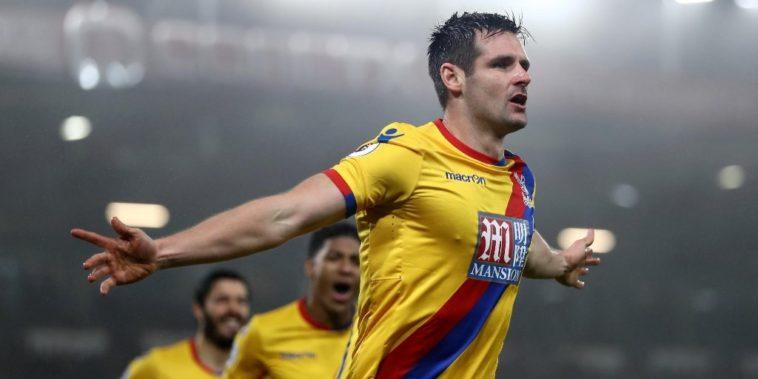 Scott Dann celebrates scoring for Crystal Palace in the Premier League