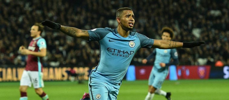 Gabriel Jesus celebrates scoring for Manchester City against West Ham in the Premiee League 2017