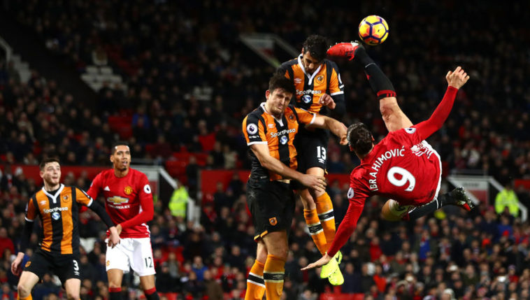 Zlatan Ibrahimovic for Manchester United in a Premier League game against Hull