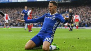 Eden Hazard celebrates after scoring a phenomenal goal against Arsenal