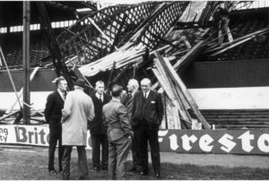 Damage caused at Stoke City's Victoria Ground following high winds in 1976