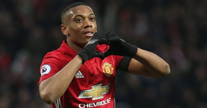Anthony Martial celebrates scoring for Manchester United