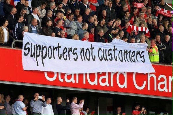 Liverpool fans protest 'Supporters not customers'