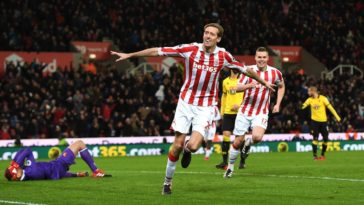 Peter Crouch celebrates scoring for Stoke City