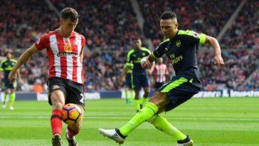 Billy Jones and Kieran Gibbs, Sunderland v Arsenal