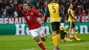 Thiago wheels away in celebration as Bayern Munich beat Arsenal 5-1.