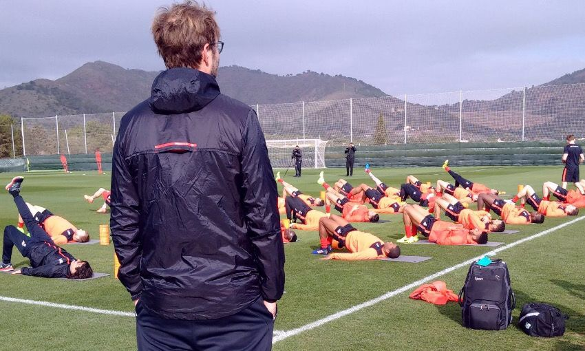 Jurgen Klopp watches his Liverpool player on a mid-season training camp in La Manga, Spain