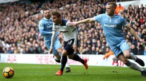 Christian Eriksen in action for Tottenham against Stoke