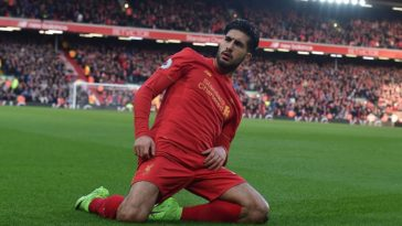 Emre Can celebrates scoring for Liverpool against Burnley