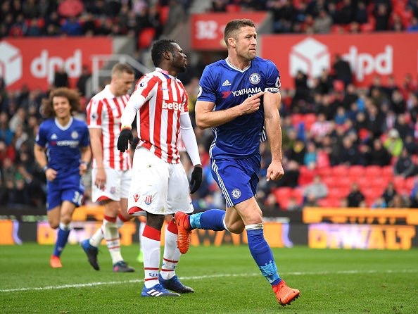 Gary Cahill celebrates scoring a late winner for Chelsea against Stoke