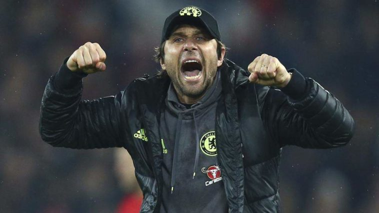 Antonio Conte celebrates a Chelsea goal against Jose Mourinho's Manchester United