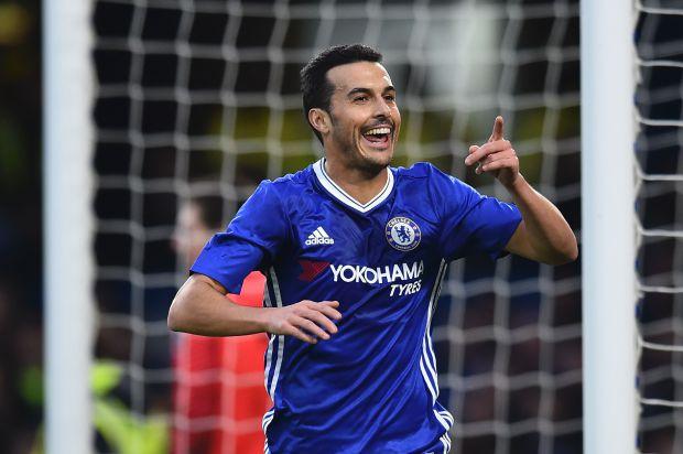 Pedro celebrates scoring for Chelsea