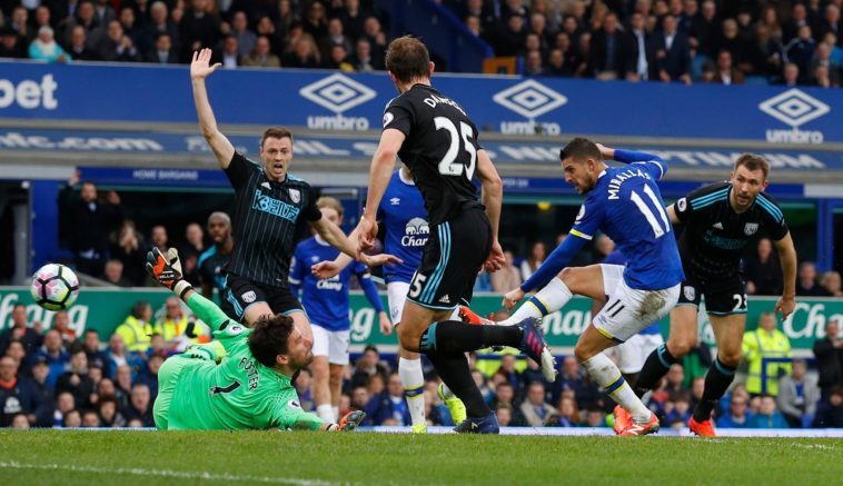 Kevin Mirallas scores the opening goal for Everton against WBA