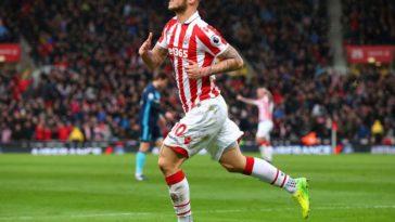 Marko Arnautovic celebrates scoring a goal for Stoke against Middlesbrough
