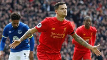 Philippe Coutinho scores in the Merseyside Derby 2017