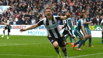 Matt Ritchie celebrates scoring for Newcastle against Wigan