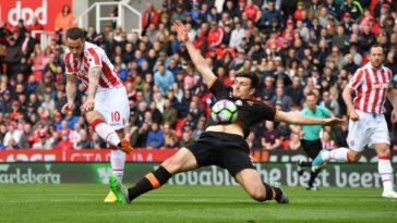 Marko Arnautovic scores as Stoke beat Hull 3-1 at the bet365 stadium