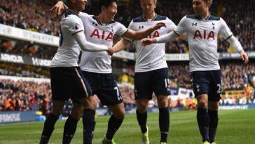 Tottenham celebrate in a 4-0 win against Bournemouth