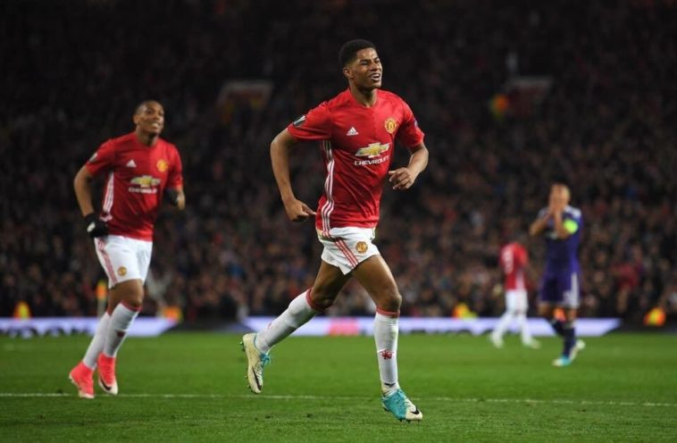 Marcus Rashford scores the winner for Manchester United in their Europa League tie against Anderlecht