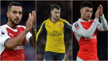 Arsenal midfielders Theo Walcott, Alex Oxlade-Chamberlain and Aaron Ramsay