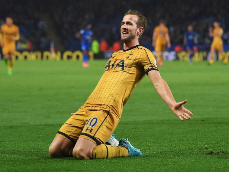 Harry Kane celebrates after scoring four for Tottenham against Leicester