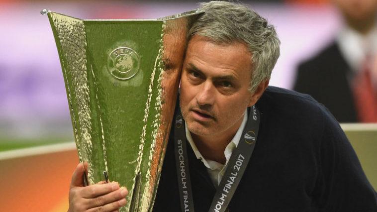 Mourinho with the Europa League trophy