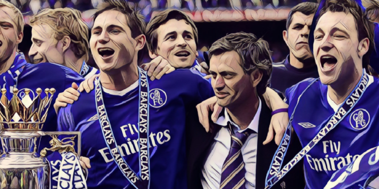 Frank Lampard, John Terry and Jose Mourinho celebrate winning the Premier League title