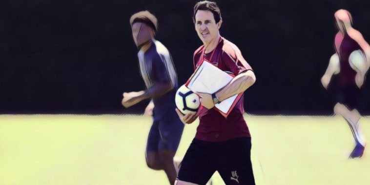 Unai Emery takes his first training session as Arsenal manager
