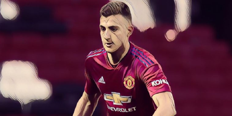 Diogo Dalot in action for Manchester United's U23 team