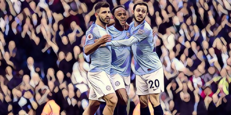 Sergio Aguero, Raheem Sterling and Bernardo Silva celebrate a Man City goal