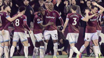 West Ham celebrate their equaliser against Liverpool