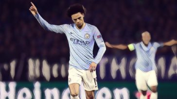 Sane celebrates his stunning freelick for Man City against Schalke