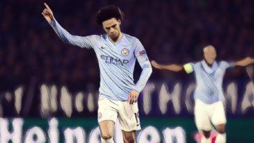 Sane celebrates his stunning freelick for Man City against Schalke