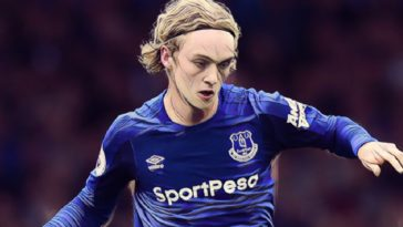 Everton midfielder Tom Davies