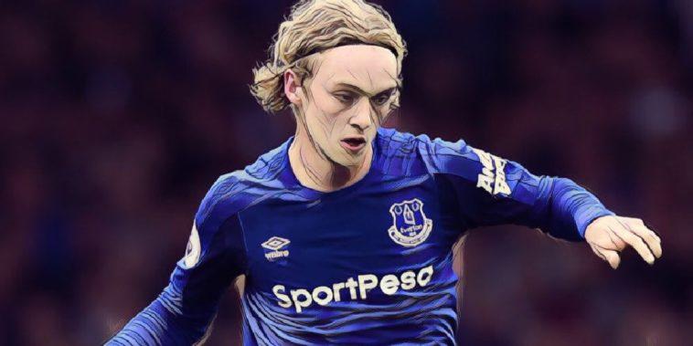 Everton midfielder Tom Davies