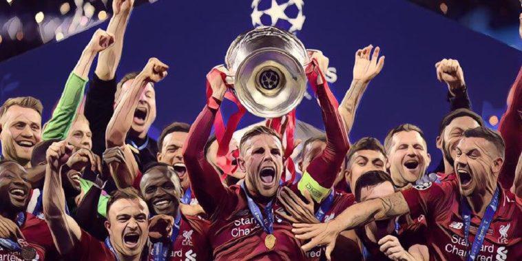 Liverpool captain Jordan Hebderson lifts the Champions League trophy