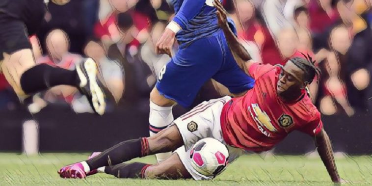 Aaron Wan Bissaka tackles Ross Barkley on his Manchester United debut