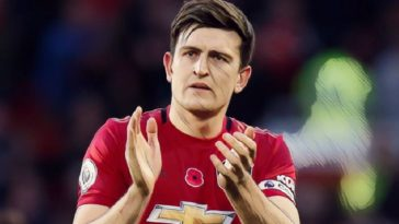 Harry Maguire captain of Manchester United against Brighton in 2019