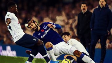 heung min son tackle andre gomes everton spurs