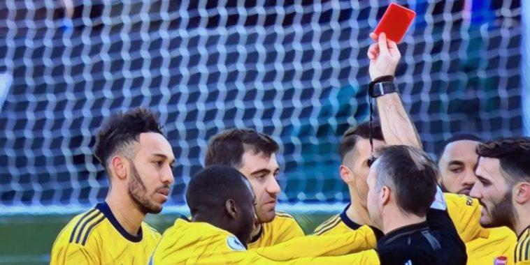 aubameyang red card arsenal premier league