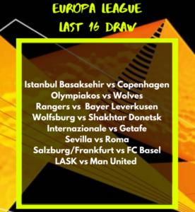 europa league last 16 draw man united wolves rangers