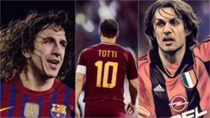 greatest one club men european football totti maldini puyol