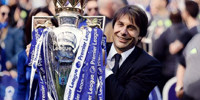 Conte Chelsea Premier League trophy